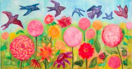 Gerri Ann Siwek, Birds in the Garden of Dahlias Again, 2008, Acrylic on canvas, 190 x 100cm