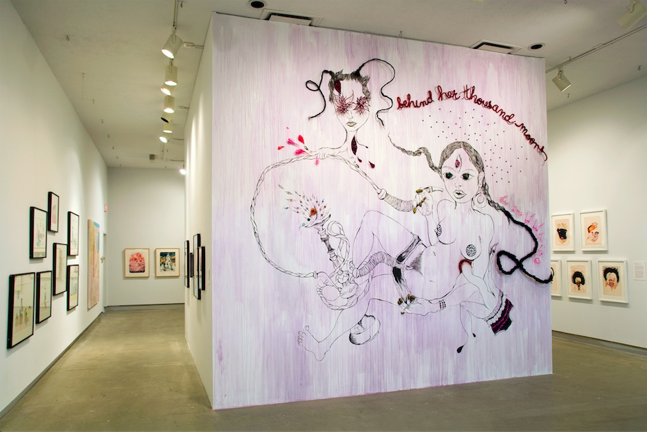 Chitra Ganesh, Inside Pandora #2, 2008, mixed media site-specific mural installation, Dunlop Art Gallery, Courtesy of Thomas Erben Gallery, New York