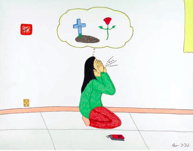 Annie Pootoogook, Composition (Mourning Napachie's Death), Cape Dorset, 2003/04, pencil crayon, ink, 40.0 x 50.0cm, Courtesy of Feheley Fine Arts, Toronto