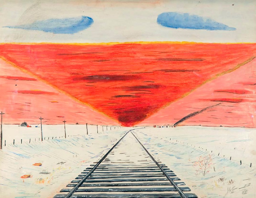 William McCargar, Untitled (Sunset), c. late 1960's, watercolour, pastel and ball point pen on paper, 52.5 x 69cm, Collection of Jack Severson