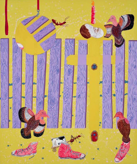 Cynthia Girard, Ants and Vultures, 2010, acrylic on canvas, 182.88 x 152.4cm