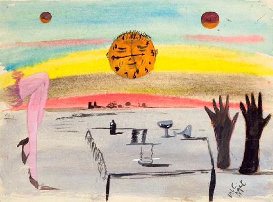 William McCargar, Untitled (Morning After The Night Before), n.d., watercolour, gouache, graphite pencil on paper, 20.6 x 30.3cm, Collection of the Regina Public Library