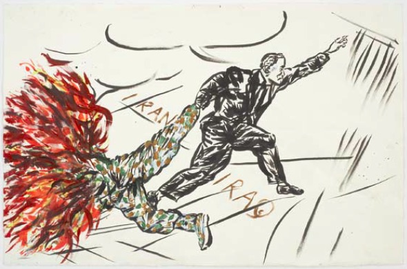Raymond Pettibon, Untitled (Iran, Iraq), 2007, pen, ink, gouache and acrylic on paper, 66.7 x 101.6cm, Courtesy of Regen Projects, Los Angeles