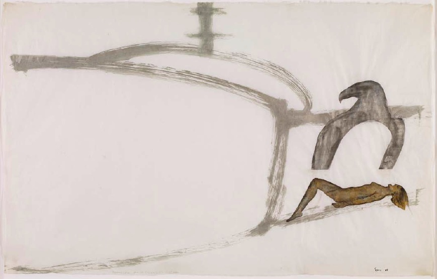 Nancy Spero, Helicopter, Eagle, (Magnet), Victim, 1968, Gouache and ink on paper, 70.0 x 107.3cm, Courtesy of Galerie Lelong, New York