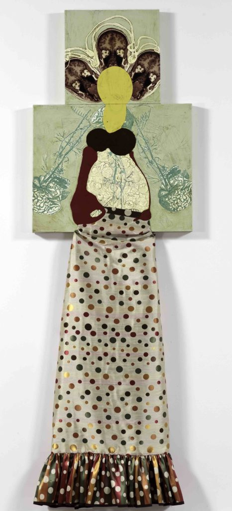 "Katherine Sherwood, Belly, 2010, Mixed media on canvas, 92"" x 30"", Courtesy of Gallery Paule Anglim, San Francisco"