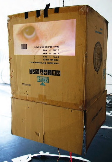 Alison O'Daniel, God's Eye, 2011, Original cardboard box for disco ball, rotating disco ball hanging inside, projection of dog's eye, string, hair-wraps, chain, Variable sizes