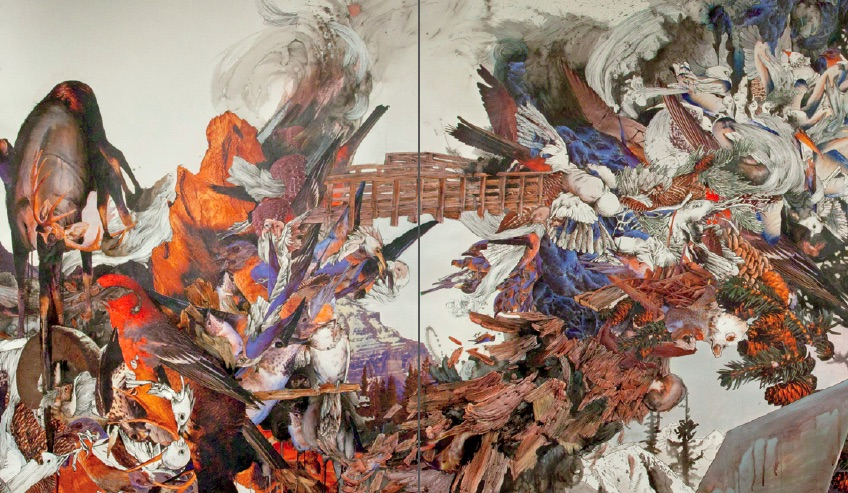 Dagmara Genda, Panorama, 2012, Collage with ink, latex, and acrylic on paper, 52.5 x 301.4 inches