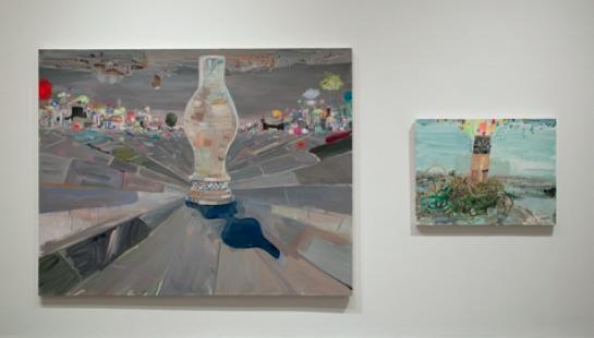 Lisa Sanditz, (left) Lamp City, 2009, Acrylic on canvas, 68 x 87 inches