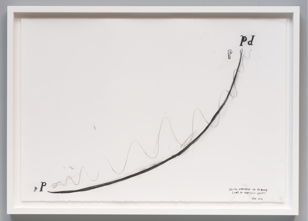 "Christine Sun Kim, slur version of piano, 2013, Transcript drawing, 30"" x 44"""