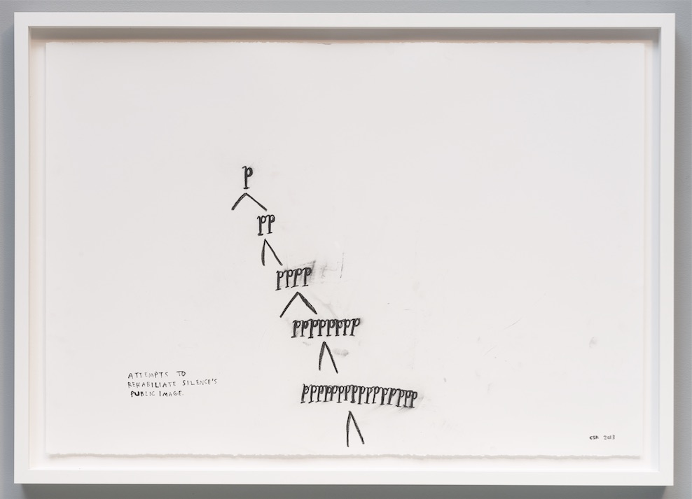 "Christine Sun Kim, rehabilitating silence, 2013, Score drawing, 30"" x 44"""