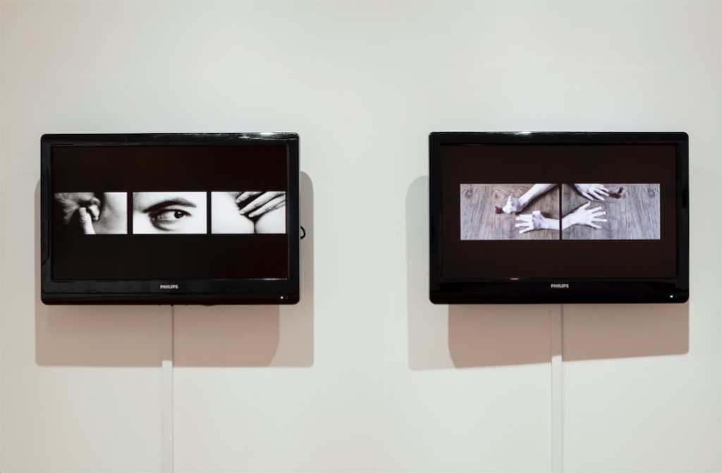 Lindsay Fisher, (left) Peepshow, 2014, Video installation, 0:09 minutes; (right) How to paint your nails perfectly, 2014, Video installation, 3:09 minutes