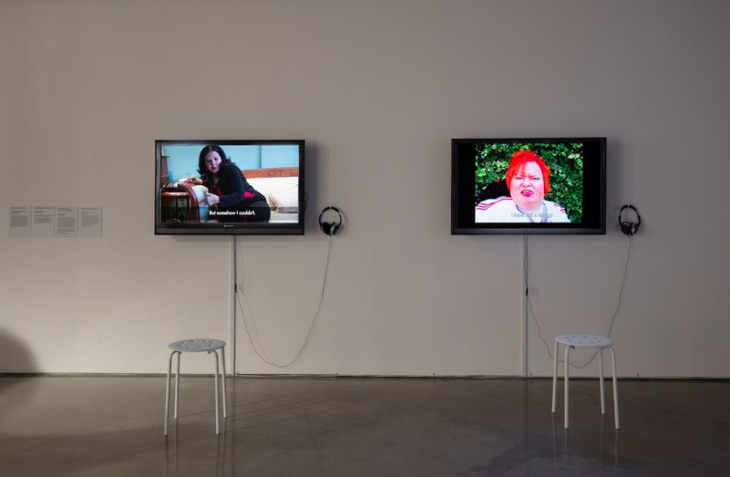"(left) Arseli Dokumaci, ""Taskscape"" in its Making: Disabled ways of living OTHERWISE, 2013, Video, 11:04 minutes; (right) Katherine Araniello, Superhuman Part 2, 2012, Video, 02:56 minutes"