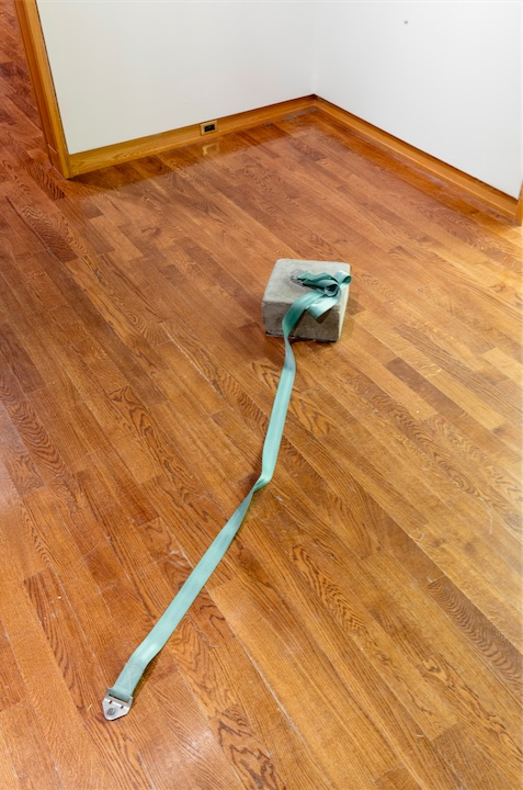 Mowry Baden, Untitled (Seat Belt with Concrete Block), 1969–1970, Nylon, metal, concrete, Dimensions variable, Collection of the Vancouver Art Gallery