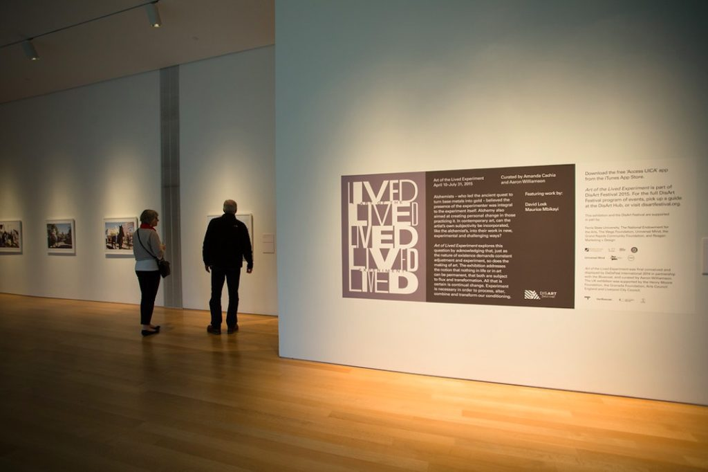 Art of the Lived Experiment installation, Grand Rapids Art Museum, Grand Rapids, MI, 2015