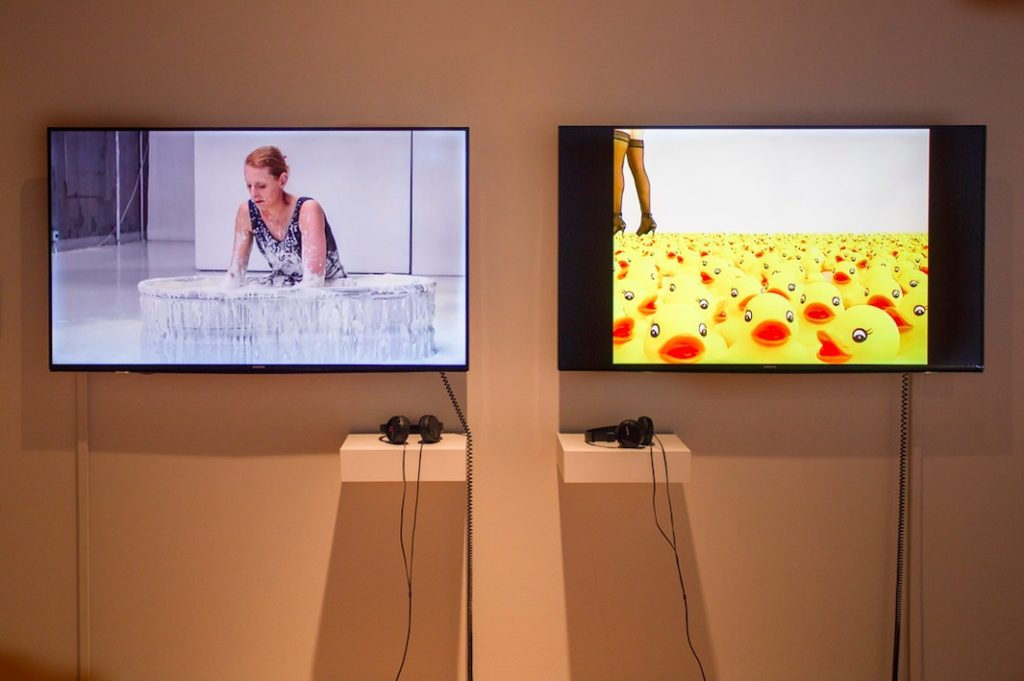 Anna Berndtson, (left) Churned 2014, Video, 11 min 18 sec; (right) Duckie, 2006, Video, 5 min 49 sec (looped)