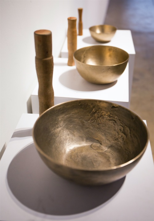 Aaron McPeake, Singing bowl 1, 2014, Singing bowl 2, 2011, Singing bowl 3, 2012, Bell bronze, Dimensions variable.