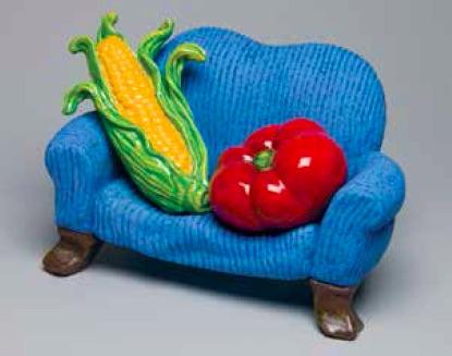 Victor Cicansky, Armchair Tomato, 2008, clay, glaze, 15 x 17.5 x 17.5cm
