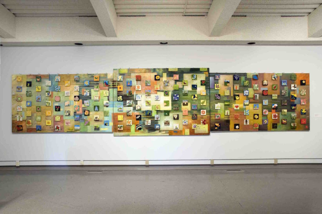 Bonnie Chapman, mural collaboration by 46 artists, Creativity For Health Studio Artists, & Bonnie Chapman, Artist in Residence, Pasqua Hospital Regina, Prairie Breeze in the Garden 2008, 165 painted and glazed ceramic tiles & acrylic on canvas,10 x 10cm each (tiles), 120 x 617.5cm (canvas)