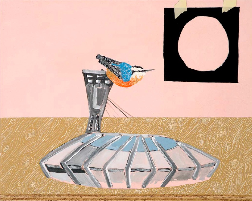 Cynthia Girard, The Nuthatch and the Stadium, 2010, acrylic on canvas, 41 x 51cm