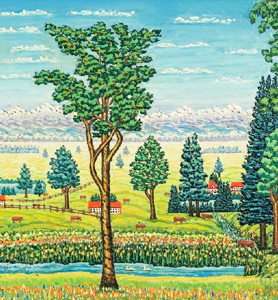 Roland Keevil, Ranch Scene-Foothills, 1957, oil on canvas board, 55.9 x 76.2cm, Collection of Veronica and David Thauberger