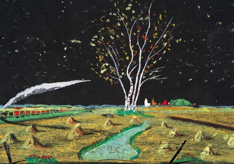 William McCargar, Untitled, n.d., gouache, pastel, wax crayon, graphite pencil and glitter on construction paper, 26 x 36.6cm, Collection of the MacKenzie Art Gallery, gift of Veronica and David Thauberger