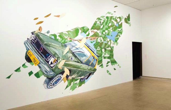 Fawad Khan, Datsun Sunny Dissonance, 2009, acrylic on wall, various dimensions, Courtesy of the Artist and 33 Bond Gallery