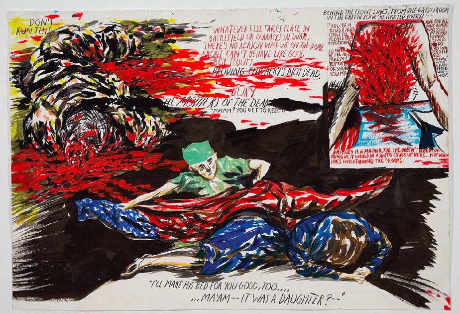 Raymond Pettibon, Untitled (Don't run this), 2006, pen, ink, gouache, acrylic and collage on paper, 52.1 x 76.2cm, Courtesy of Regen Projects, Los Angeles