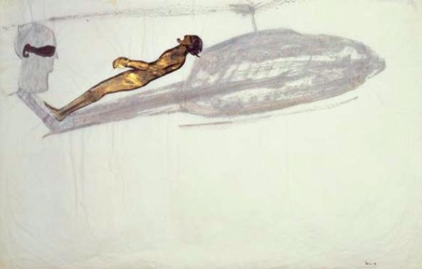 Nancy Spero, Pilot/Gunship, 1968, gouache and ink on paper, 62.9 x 100.3cm, Courtesy of Galerie Lelong, New York