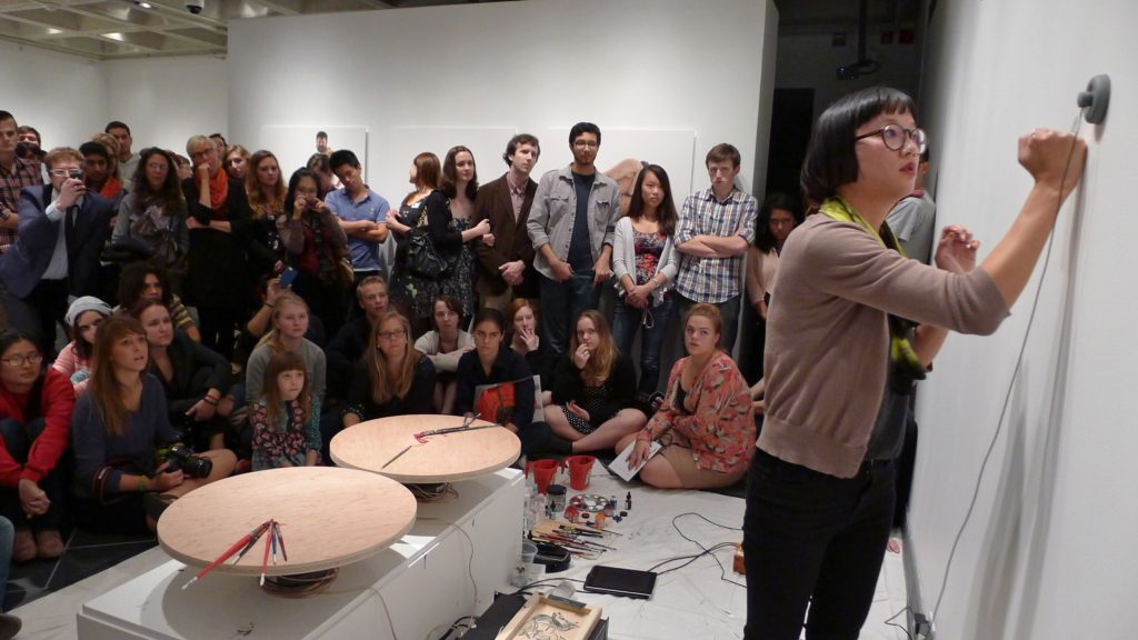 What Can A Body Do? opening reception, with Speaker drawing performance by Christine Sun Kim, Cantor Fitzgerald Gallery, Haverford College, PA, 2012