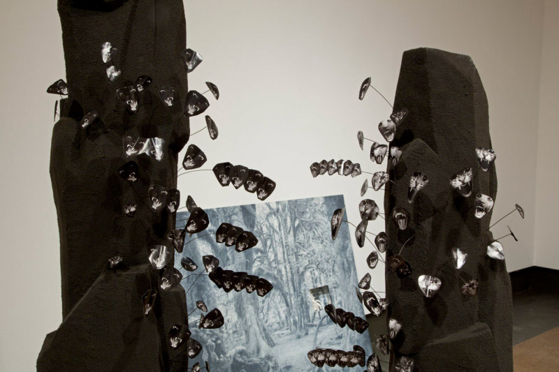 Maude Léonard-Contant, Cacti, 2012, Styrofoam, play dough, digital prints, flocking, wire, Dimensions variable; Creeper, 2012, Coloured crayon, mdd, plexiglas, polymer, 49.6 x 38.2 x 3.9 inches; Coco-fesse, 2011, Rubber foam, ink, 7.9 x 11.8 x 12.6 inches
