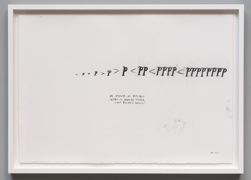 """Christine Sun Kim, as mezzo as possible, 2013, Score drawing, 30"""" x 44"""""""