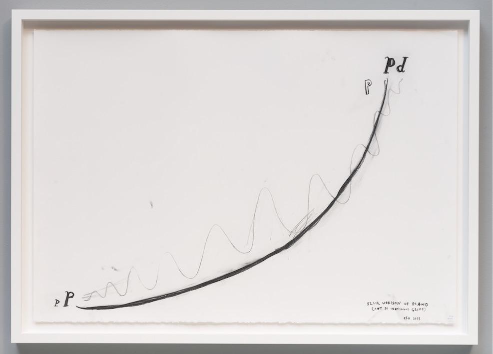 """Christine Sun Kim, slur version of piano, 2013, Transcript drawing, 30"""" x 44"""""""