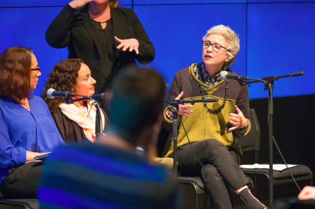LOUD silence opening panel with Amanda Cachia, Christine Sun Kim, Lisa Cartwright and Brenda Brueggemann, gallery@calit2, University of California San Diego, 2015