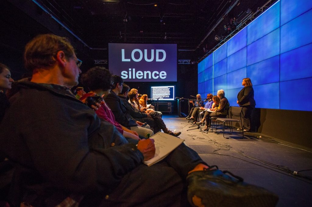 LOUD silence opening, with performance by Christine Sun Kim, gallery@calit2, University of California San Diego, 2015