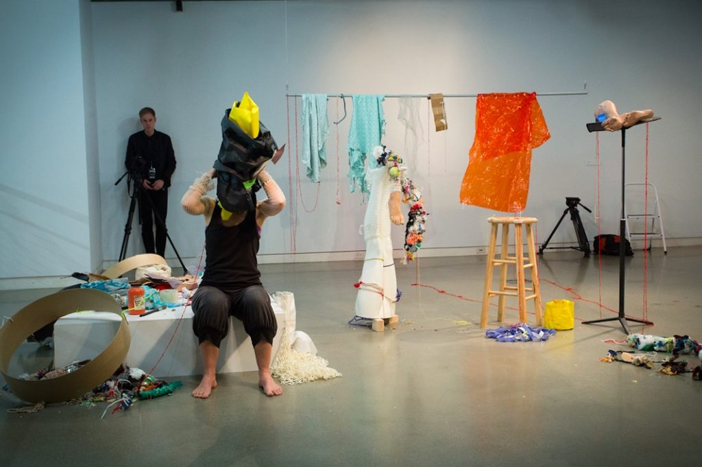 Raphaëlle de Groot, Off, 2015, Performance and installation with video documentation and various collected and found objects and materials, dimensions variable