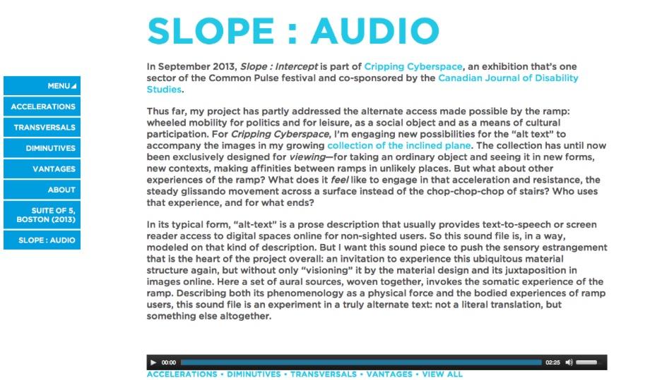 Sara Hendren, Slope : Audio, 2013