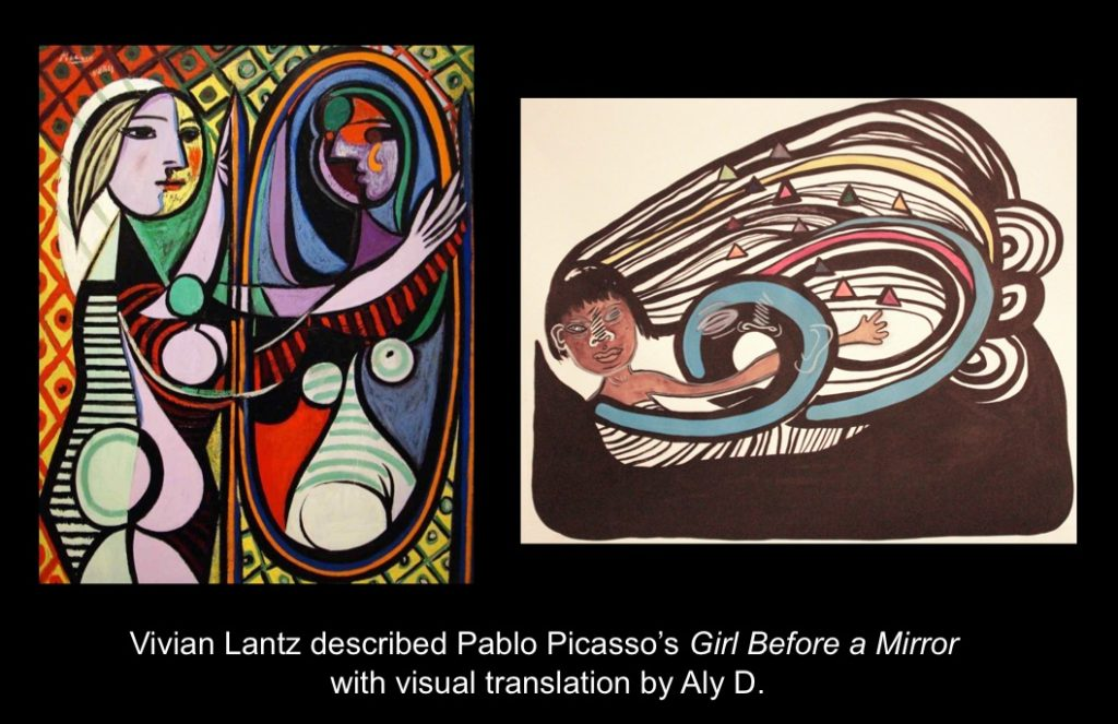 Carmen Papalia, See For Yourself, 2015, Vivian Lantz described Pablo Picasso's Girl Before a Mirror with visual translation by Aly D.