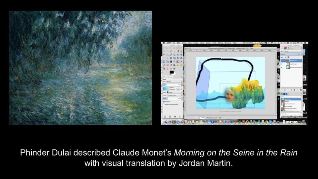 Carmen Papalia, See For Yourself, 2015, Phinder Dulai described Oscar-Claude Monet's Morning on the Seine in the Rain with visual translation by Jordan Martin.