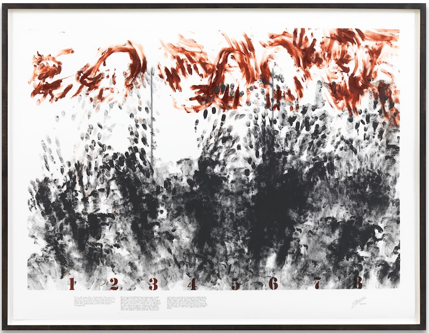 Robert Morris, Blind Time (Grief) II, 2009, Powdered pigment, usually mixed with plate oil on acid free rag paper, 96,5 x 127 cm, Image courtesy by the artist, Leo Castelli Gallery, Sonnabend Gallery and Sprüth Magers