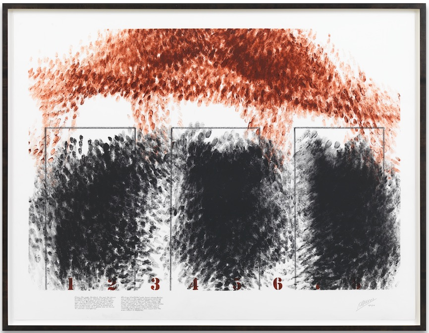 Robert Morris, Blind Time (Grief) IV, 2009, Powdered pigment, usually mixed with plate oil on acid free rag paper, 96,5 x 127 cm, Image courtesy by the artist, Leo Castelli Gallery, Sonnabend Gallery and Sprüth Magers