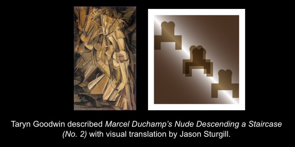 Carmen Papalia, See For Yourself, 2015, Taryn Goodwin described Marcel Duchamp's Nude Descending a Staircase (No. 2) with visual translation by Jason Sturgill.