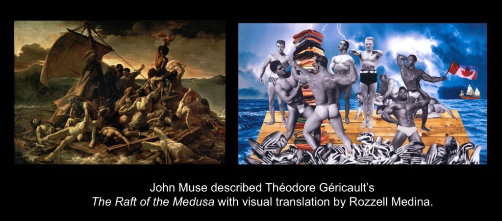 Carmen Papalia, See For Yourself, 2015, John Muse described Théodore Géricaultt's The Raft of the Medusa with visual translation by Rozzell Medina.
