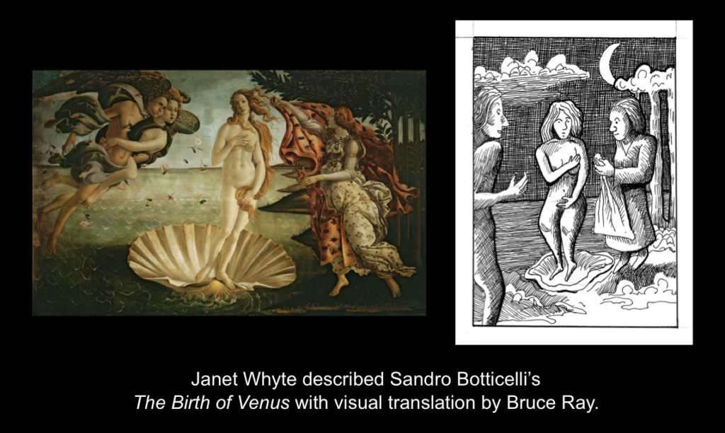 Carmen Papalia, See For Yourself, 2015, Janet Whyte described Sandro Botticelli's The Birth of Venus with visual translation by Bruce Ray.