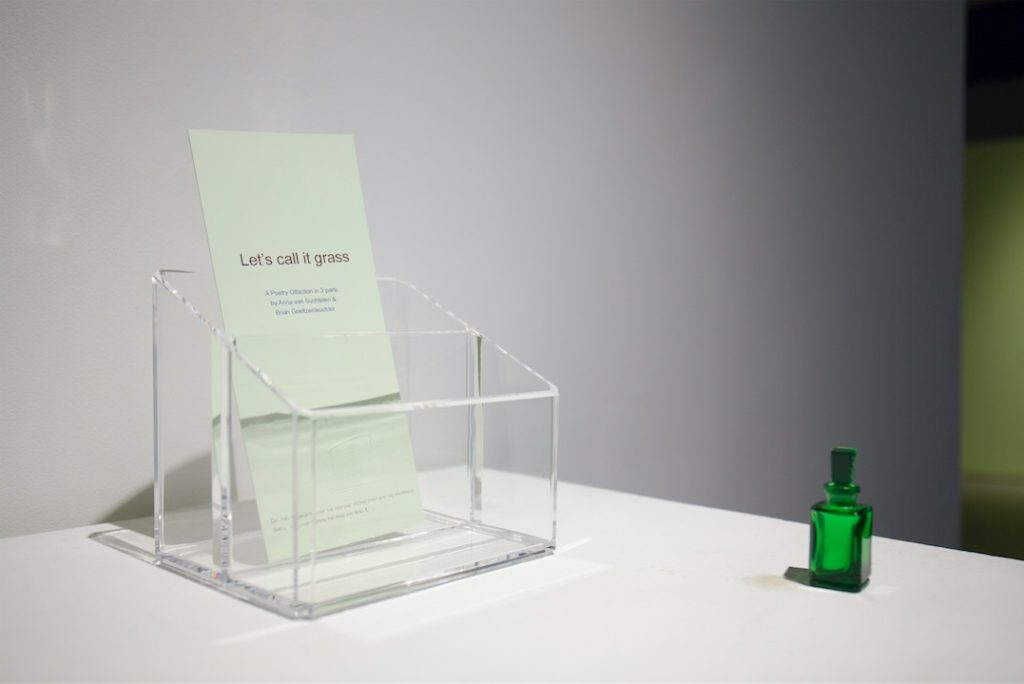 Brian Goeltzenleuchter & Anna van Suchtelen, Lets call it grass, 2015, Poetry olfaction in 3 parts, 1000 copies of folded cards with 1-dram vials of fragrance