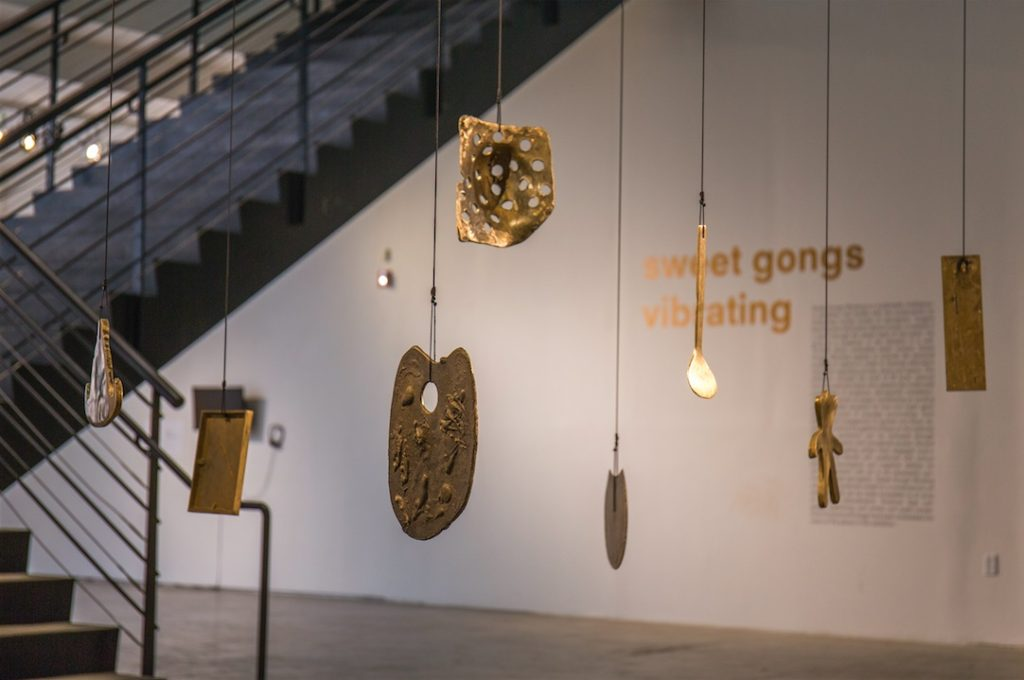 Aaron McPeake, Gongs: Eileen's Palette, 2008, Once I Saw It All, 200, I Broke Her 78 Records, 2007, Breast Cancer Radiation Mask, 2008, Tainted Wedding Ring, 2007, Family Photograph, 2007, Meditation Gong – After Derrick, 2009, My Teddy Brownie, 2008, Wooden Spatula, 2010, bell bronze, Dimensions variable