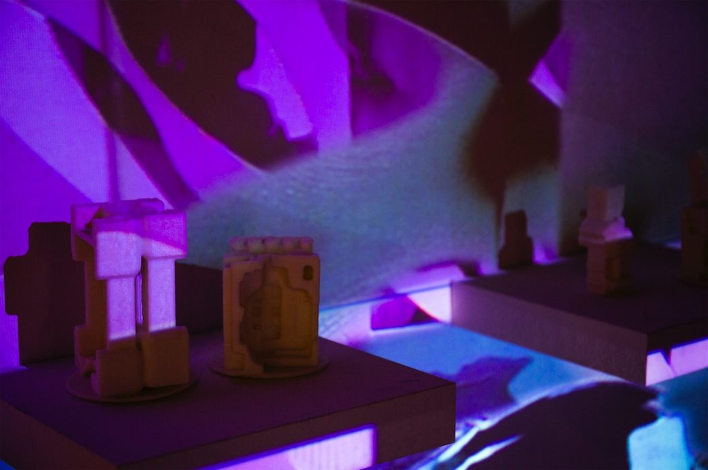 Darrin Martin, Objects Unknown: Sounds Familiar, 2016 , HD video projections and 3D printed objects, Dimensions variable